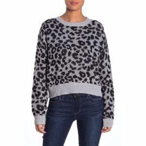 John & Jenn Gray And Black Cheetah Sweater